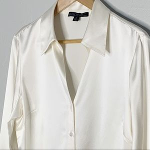 Lafayette 148 NY cream silk button down blouse 12